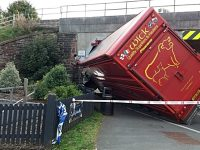 Lorry collides with railway bridge on Whitchurch Road, Beeston