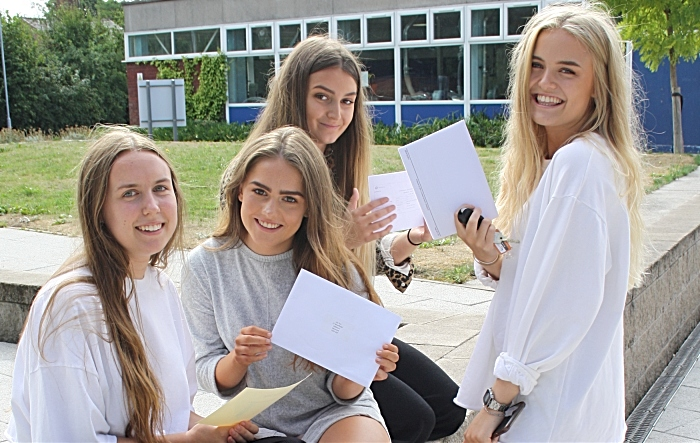 A Level results at Brine Leas - Lottie Dobson with Megan Brown, Lydia Foster and Lily Torr