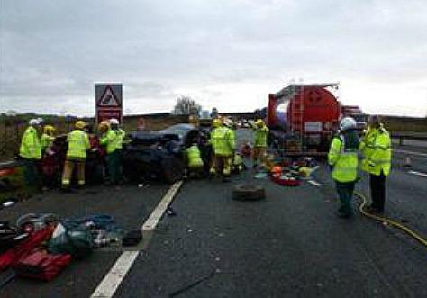 M6 motorway accident near junction 16