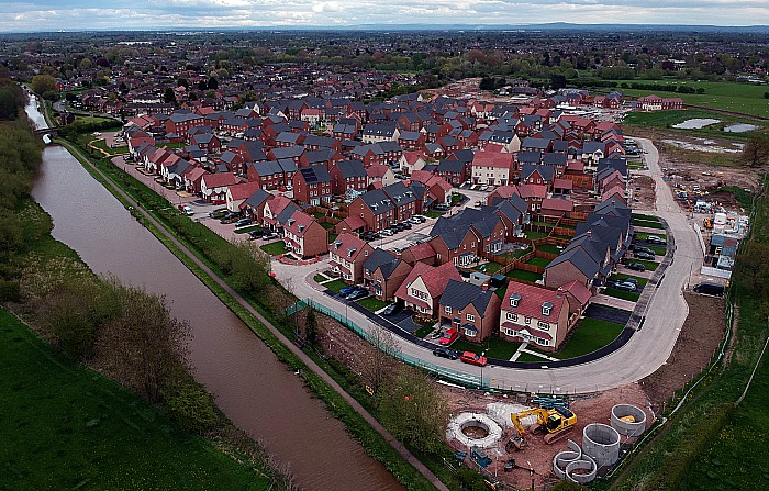 Malbank Waters housing development - Queens Drive - Nantwich - aerial shot