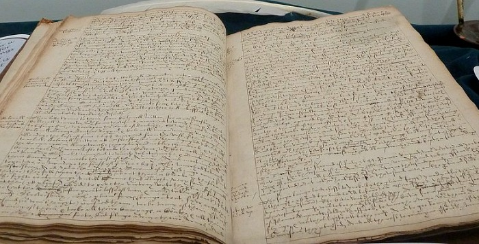 Malbons journal on display in the Nantwich Besieged exhibition at Nantwich Museum