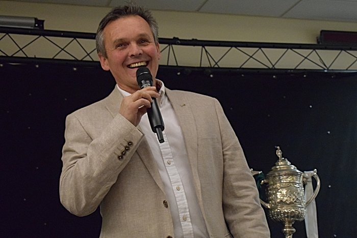 Manager Dave Cooke addresses the audience alongside the Cheshire Senior Cup (1)