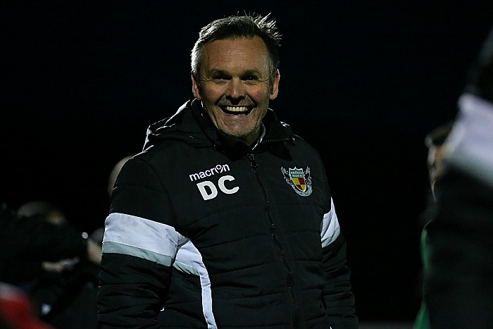 Manager Dave Cooke celebrates the win
