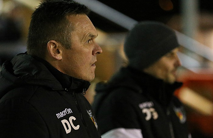Manager Dave Cooke eyes the Crewe Alex opposition