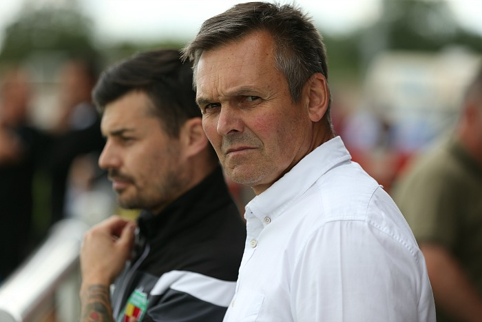 Manager Dave Cooke has game face on prior to kick-off