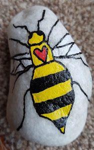 Manchester Arena terror attack anniversary - worker bee pebble