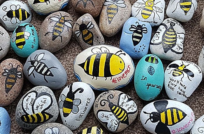 Manchester Arena terror attack anniversary - worker bee pebble art