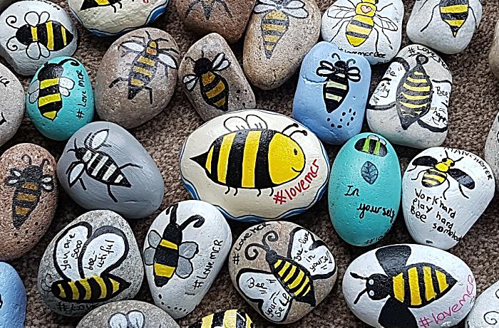 Manchester Arena terror attack anniversary - worker bee pebble art