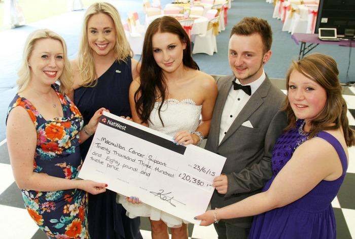 Mandy West, Louisa Walmsley, Katie Gibson, Rob Sparkes, Fenna Ball, Reaseheath College raising for Macmillan Cancer Support