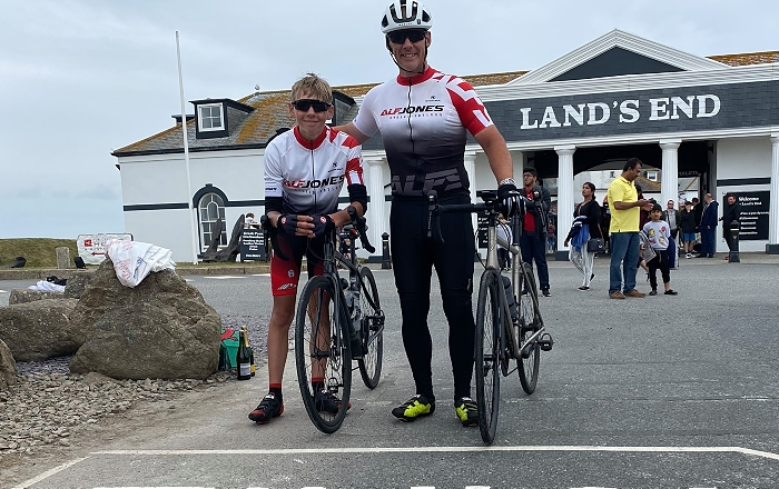 Mark Parsons, Assistant Principal of Cheshire College, at the finish line of his epic cycling challenge (1)