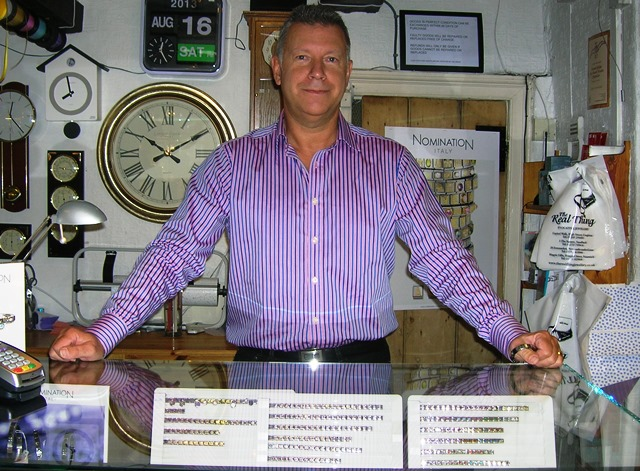 Mark Robinson with Nomination collection at Magpie Gifts in Nantwich