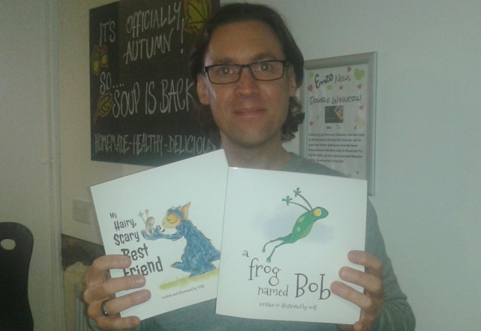 Mark Wilcox with his new children's books