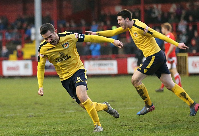 Workington - Matt Bell celebrates his goal