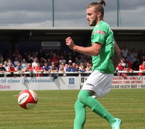 Max Harrop of Nantwich Town, scored winner against Halesowen Town