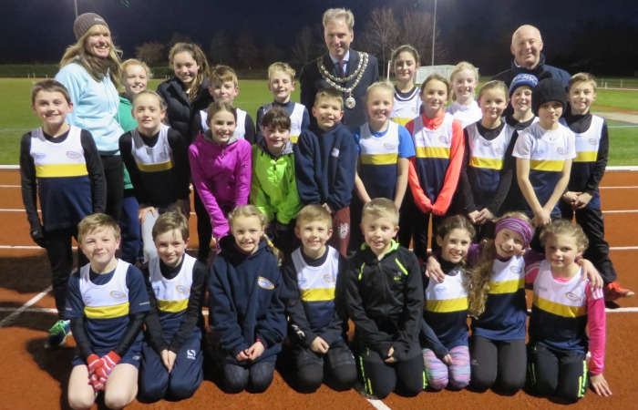 Mayor Andrew Martin with Crewe & Nantwich Athletics Club youngsters