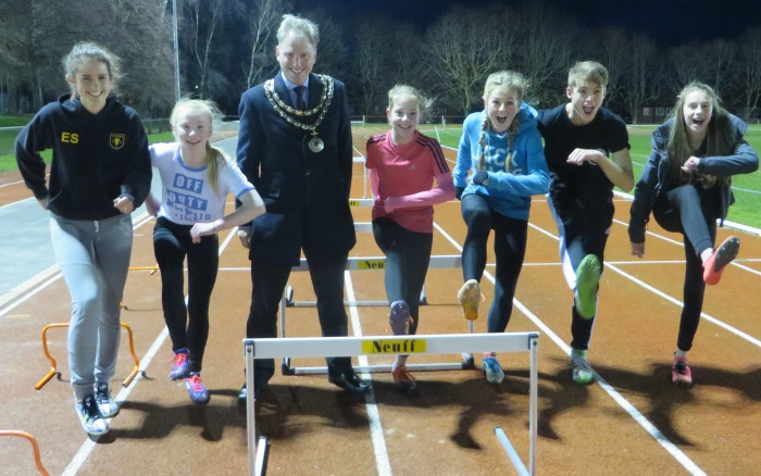 Mayor Andrew Martin with hurdling Crewe & Nantwich athletes