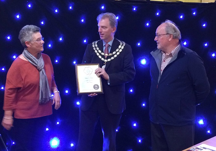 Gold award - Mayor Cllr Andrew Martin presents In Bloom certificate to Nantwich in Bloom organisers Sue Hughes and Mark Betteley
