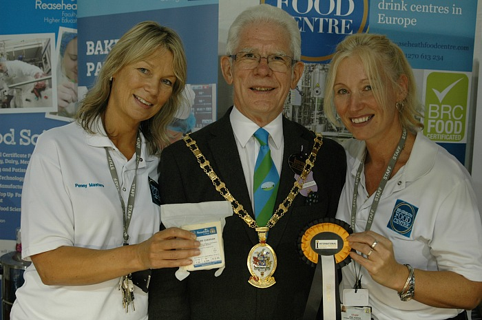 Mayor of Cheshire East Council Councillor Arthur Moran with staff from Reaseheath Colleges Food Centre
