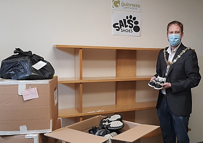 Mayor of Crewe Cllr Benn Minshull - shoe recycling hub