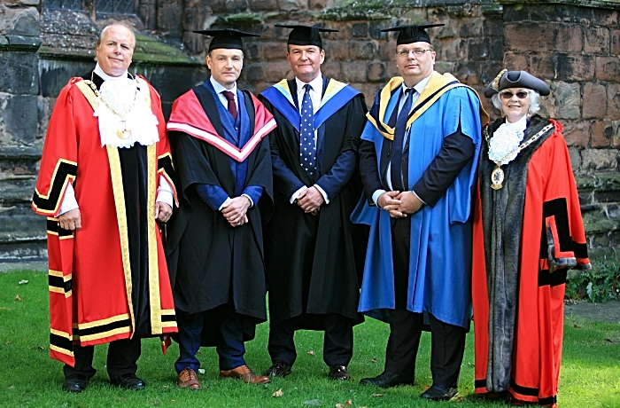 Mayor of Nantwich Coun David Marren, Chris Beardshaw, Gov David Pearson, Principal Marcus Clinton, Cheshire East Mayor Lesley Smetham