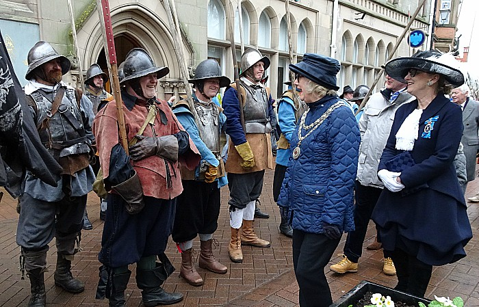 Mayor of Nantwich Councillor Cllr Peggy Butterill chats to the troops