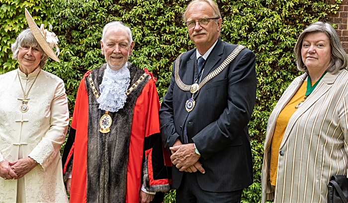 Mayoress Sue Bidwell, Mayor Cllr Barry Burkhill, Deputy Mayor Cllr Steven Edgar and his consort Barbara Edgar (1)