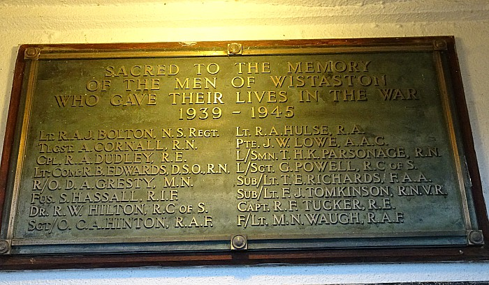 Wistaston Memorial Hall plaque - sixteen men from Wistaston who perished during World War 2