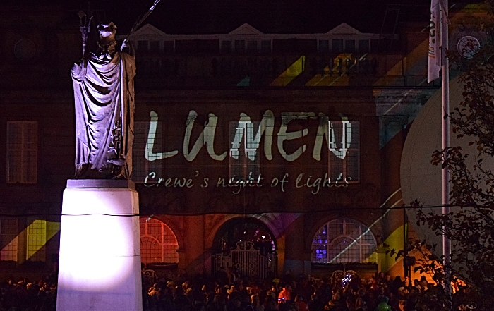 Memorial Square - Lumen - Crewe's Night of Lights projected onto Municipal Buildings prior to the projection-mapping show (1)