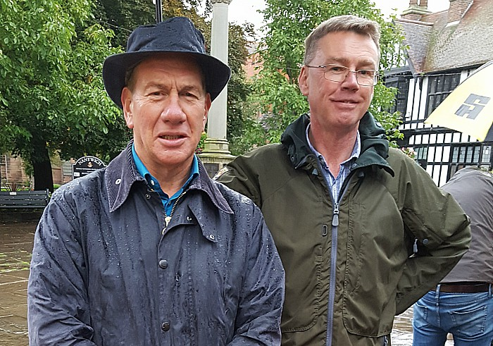 Michael Portillo and Bill Pearson in the square - great british railway journeys