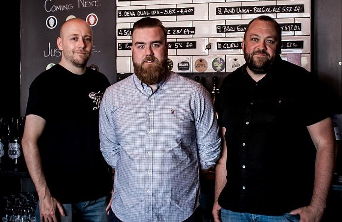 Craft beer fans Mike Ramm, Sam McGarrigle & Jon Mitchell at Nantwich Beer Dock, meet the brewer event