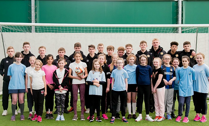 Millfields Primary School pupils with Crewe Alex apprentices
