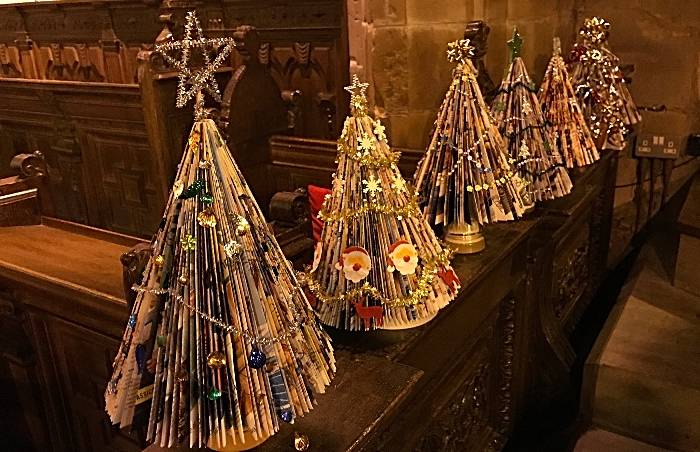 Miniature Christmas trees on display made by Acton & Reaseheath WI (1)