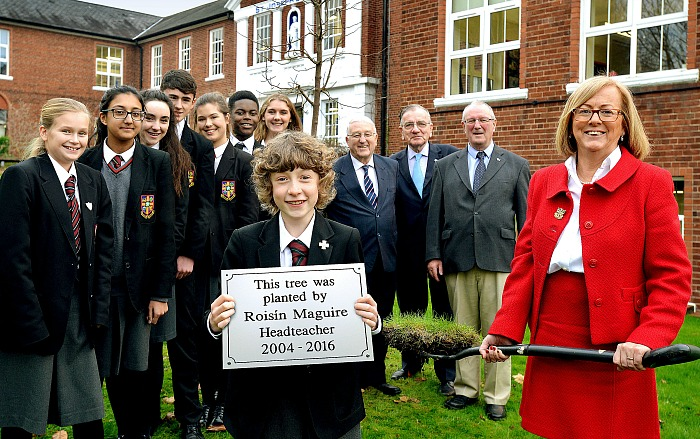 plaque and tree planted in honour of Roisin Maguire, St Joseph's College headteacher
