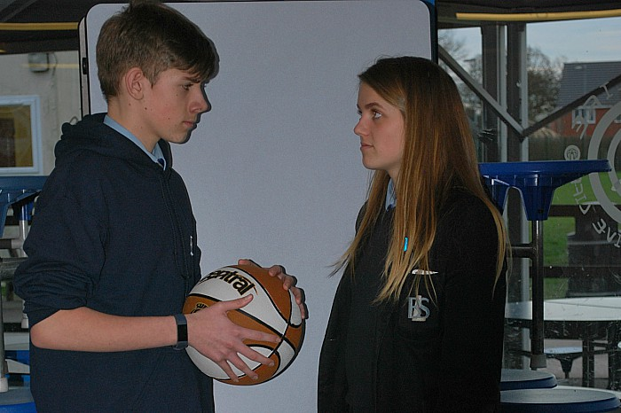 Myles Hamilton-Fey and Lucy Morriss practise their parts