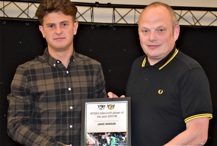 NTISA's Edencroft player of the year 2017-18 - Jamie Morgan - left - receives award from Rob Woods