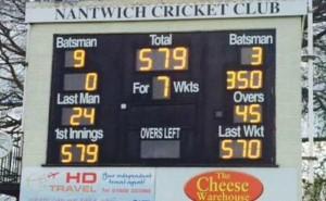 Nantwich CC cricket board Liam Livingstone