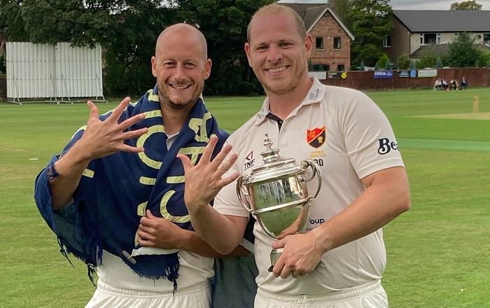 Nantwich CC players celebrate 5th league title - pic by Graham Pearson