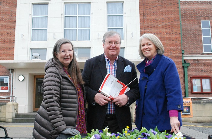 Nantwich Choral Society, Nantwich Choral Society chairman Kay Foster, publicity officer Elizabeth Lea and music director John Naylor