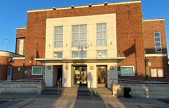vaccination - Nantwich Civic Hall close to sunset - Oct 2020 (1)