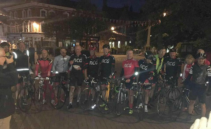 London ride - Nantwich Cycling Group at the finish on Nantwich town square