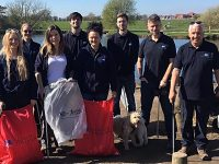 RSPCA staff fill bags full of discarded rubbish around Nantwich Lake