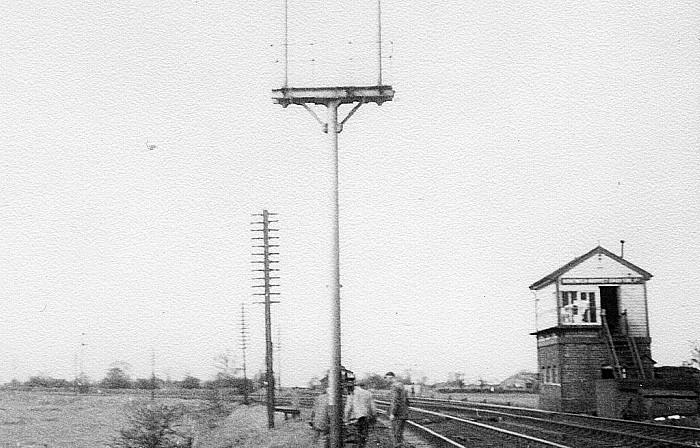 Nantwich Market Drayton Junction signal box during demolition. Spring 1969.