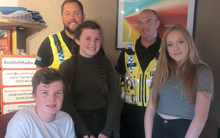 Nantwich Police visit RedShift radio and grilled by Brine Leas students