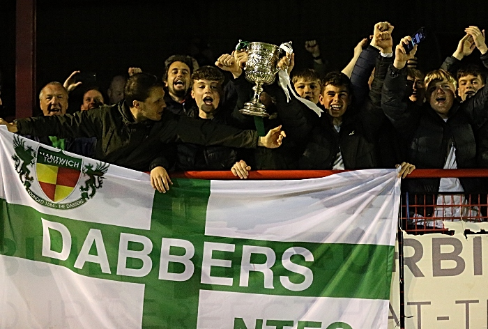Nantwich Town FC - Dabbers fans celebrate victory with the Cheshire Senior Cup 2018-19 (1)