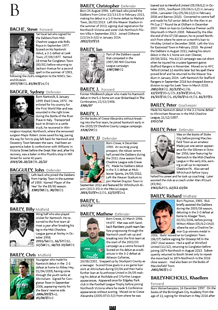 Nantwich Town FC - The Ultimate History Book book - sample players page (1)