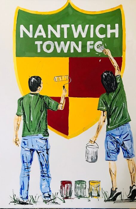 Nantwich Town FC crest painting by Tony Denton (1)