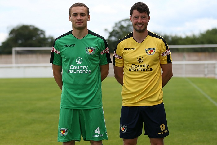 Nantwich Town FC - new green home (modeled by Theo Stair) and yellow-black away (Harry Clayton) kits
