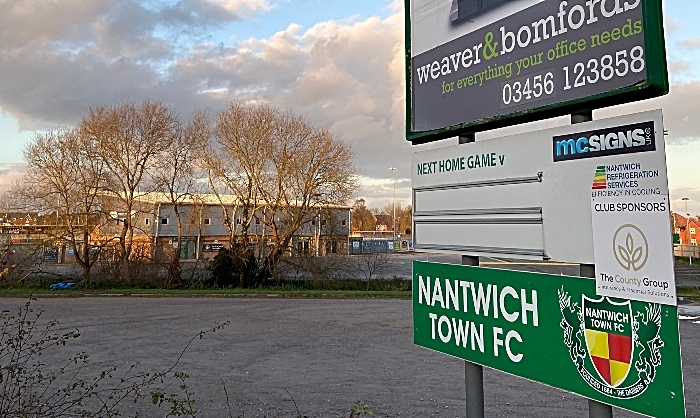 Nantwich Town FC - next home game sign (1)