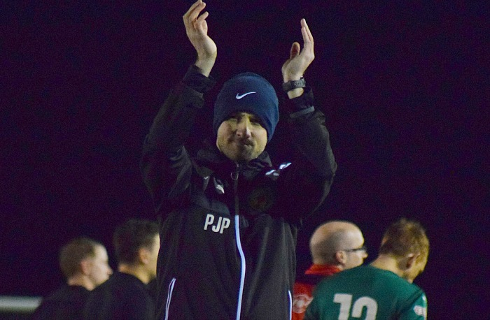 Nantwich Town Manager Phil Parkinson thanks the fans for their support