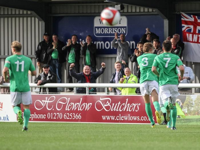 Nantwich Town celebrate Max Harrop's free-kick against Ashton United